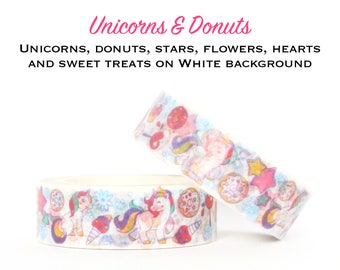 UNICORNS & DONUTS on White Background Washi Tape - Paper Craft - Scrapbooking - Gift Wrapping - Tape