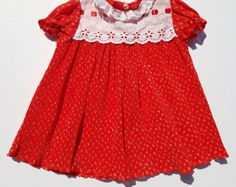 Vintage Infant Girls Red and White Accordian Style Dress