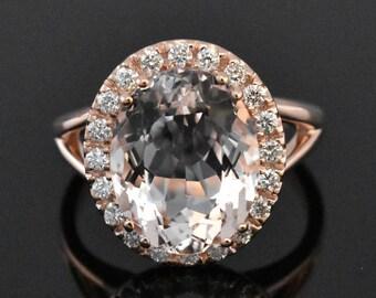 14K Rose Gold Morganite & Diamond Ring | Engagement Ring | Wedding Ring | Anniversary Ring | Diamond Halo | Handmade Fine Jewelry | Unique