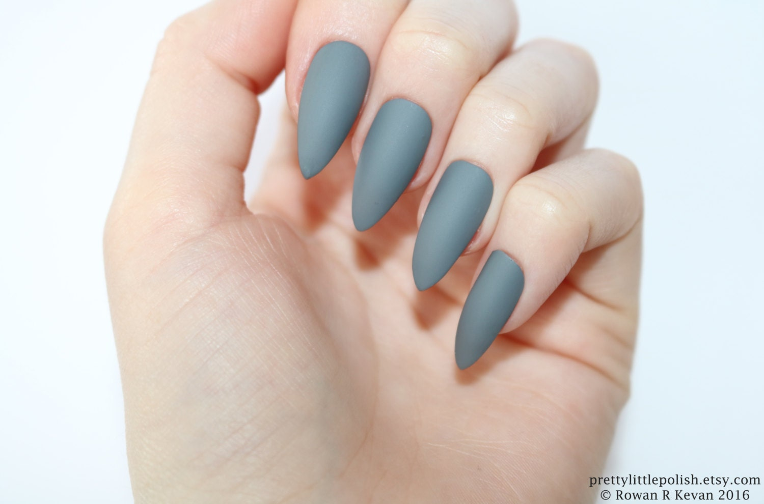Stiletto nails Matte grey stiletto nails Fake nails Press