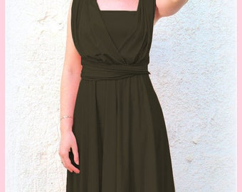 Infinity Dress knee length  in olive green color Bridesmaid  dress with matching tube top