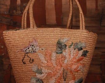 Straw bag -  Straw bag with flowers - Straw beach bag - Straw  basket - Boho beach straw bag -  Market basket - Bag with flowers - Large bag