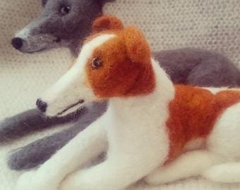 Needle felt pet portrait dog miniature custom  greyhound labrador spaniel collie etc felted replica
