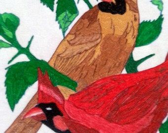 Vintage paint-by-number on velvet painting: Pair of cardinals