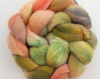 Hand dyed Shetland, Tussah silk, Hand dyed roving, fibre, fiber, felt, spindling, felting materials, felting projects