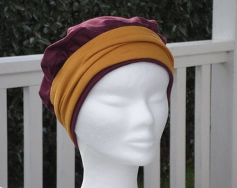 Red turban Hat chemo or not woman Burgundy jersey and mustard yellow headband Hat