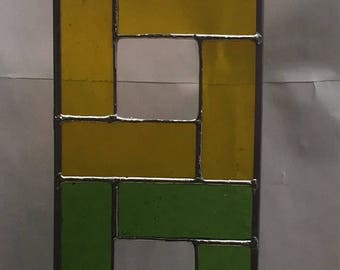 Square Multi-Colored Glass Art stained glass colorful square sun catcher