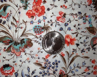 1970's Vintage Fabric White with Orange, Blue, Turquoise & Brown Floral - 1yd