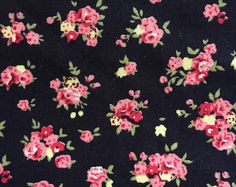 Navy blue and pink floral fabric cotton poplin fabric UK