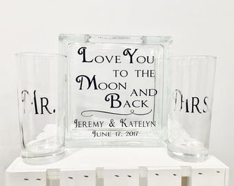 Sand Ceremony Set - Glass Containers - Glass Block with Love You to the Moon and Back - Personalized - Side vessels Mr. Mrs. in Navy silver