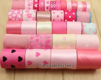 33 yards Light Pink Ribbon Lot - 1 yard each of Solid Polka Dot Love Heart Flower Satin Grosgrain Ribbon