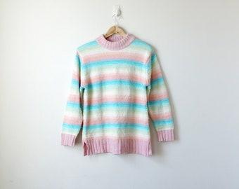 90s Pastel Rainbow Striped Sweater - 90s Sweater Rainbow Sweater Pastel Sweater Boho Sweater Hippie Sweater Vintage Sweater - Women's M