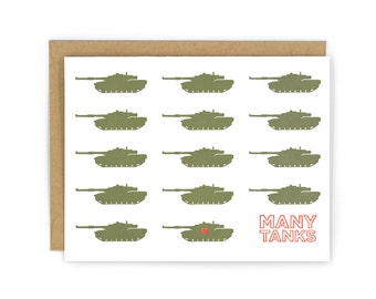 Many Tanks Letterpress Card