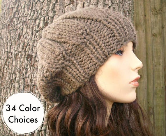 Hand Knit Hat Womens Hat - Urchin Beret Hat in Taupe Knit Hat - Taupe Hat Taupe Beret Brown Hat Brown Beret Brown Beanie - 34 Color Choices