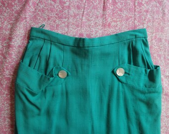 Vintage 1940s Linen Blend Skirt - Teal Pencil Skirt - Classic 40s Skirt Pockets Buttons