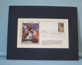 Hall of Famer and Orlando Magic Great Shaquille O'Neal & First Day Cover of the Basketball stamp