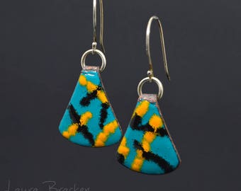 Colorful Enamel Earrings in Teal Black and Orange with Abstract Stripes