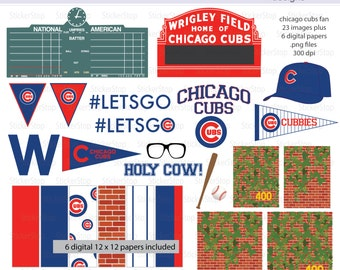 Chicago Cubs Fan Baseball Digital Clipart PLUS paper pack - Instant download PNG files - Wrigley Field, Scoreboard, ivy wall, pennant