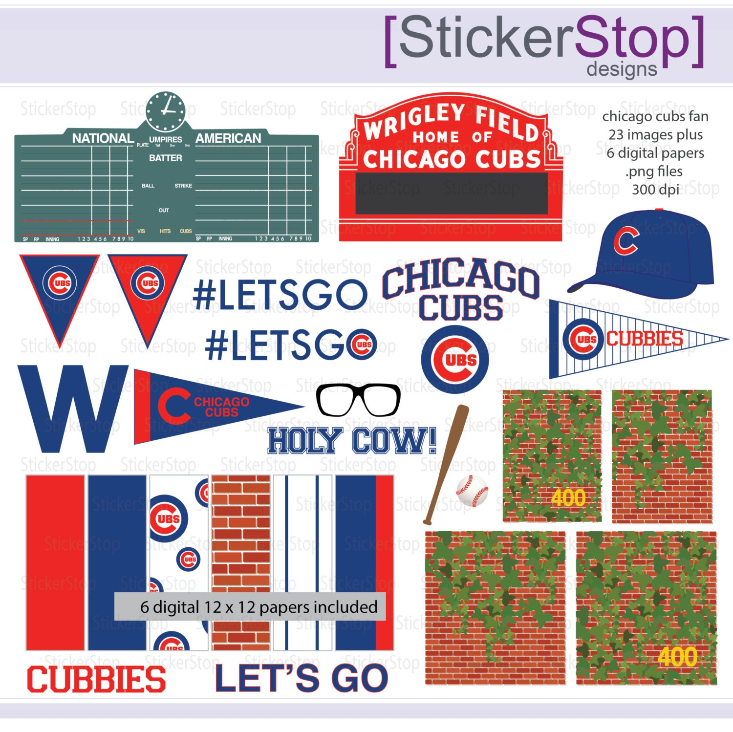Chicago cubs fan baseball digital clipart plus paper pack zoom buycottarizona Images