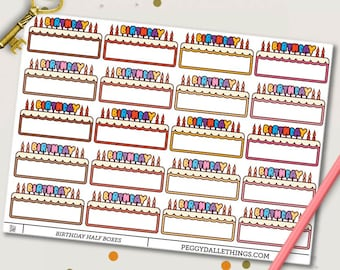 Birthday Planner Stickers | Birthday Reminders | Birthday Cake | Birthday Half Boxes Stickers