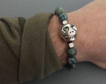 Skull Bracelet, Skull African Turquoise Gemstone Bracelet, Turquoise Jewelry, Men's Bracelet, Johnny Depp Bracelet