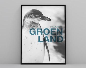 Penguin printable poster, poster iceberg, Greenland, ice, black and white, blue, modern, minimal, digital file