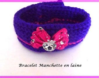 Handmade wool jewelry cuff bracelet