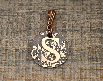 Small letter S pendant, round etched copper initial jewelry 22mm