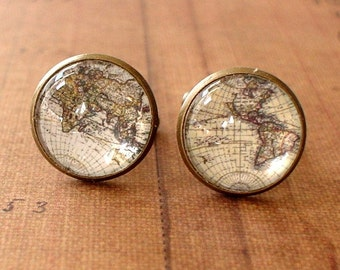 20% OFF -- 16 mm Old Whole world map Cuff Links ,Mens Accessories, Anchor Cufflinks,Perfect Gift Idea