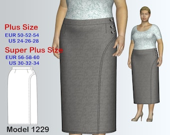 Plus size Skirt Sewing Pattern PDF, Women's  sizes 24-34 , Plus size Long Skirt PDF Instant Download Sewing Pattern
