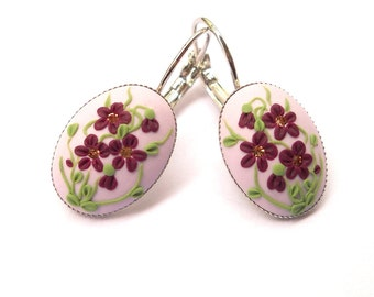Purple Earrings, Applique Earrings, Flowers Earrings, Clay Earrings, Clay Embroidery, Filigree Earrings, Gift for Her, Polymer Clay Jewelry