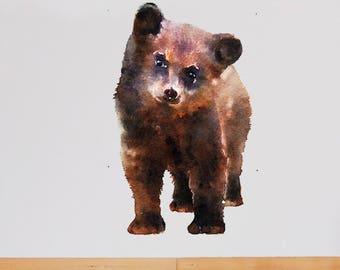 Bear Wall Decal,Bear Wall Sticker, Baby Bear Wall Decal , Bear Cub Sticker, Bear Decal, Watercolor Bear Wall Sticker