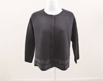 Vintage 50s Sweater Size M Black Floral Beaded Cardigan Marco Polo 40 Chest