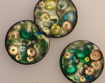 Enameled Two-hole Button: Forest Greens 2016  B-10, B-11,  B-13, B-14