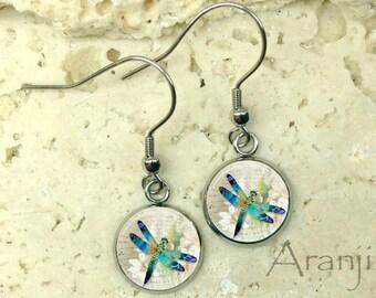 Dragonfly art earrings, dragonfly earrings, dragonfly jewelry, dragonfly drop earrings, dragonfly dangle earrings AN205DP