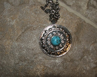 "PENDANT, TURQUOISE Stone, Silver Tone, with Chain, 15"" Length (#688)"