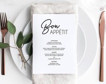 Printable Dinner Menu - Bon Appetit Menu - Instant Digital Download - DIY Template Editable PDF - Wedding Printable - 5x7 inches - #GD0209