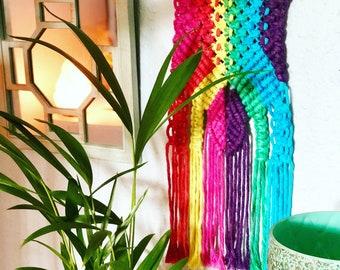 Rainbows and selenite macramé wall hanging.