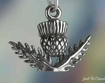 Sterling Silver Scottish Thistle Charm Scotland Flower 3D Solid .925