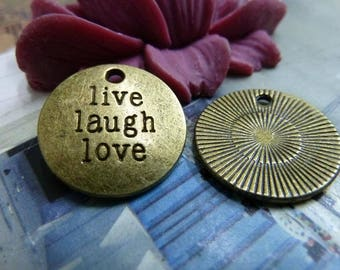 """20pcs Ancient bronze letter """"Live Laugh Love"""" 20mm,A0040"""