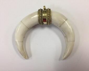 Bone horn pendant , around 55x80mm , 1 piece