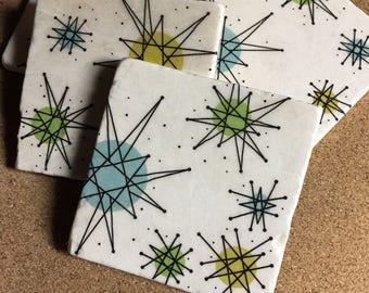 Retro Starburst Coasters ~ Vintage Coasters ~ Set of Four Coasters~ Drink Coasters ~ Tile Coasters ~