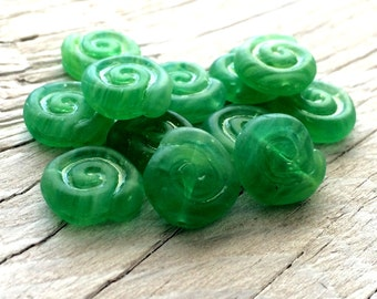 Glass Shell Beads- Czech glass beads -  nautilus shell beads green set of 10 10mm