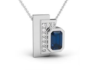 Sapphire and Pavé Diamonds Pendant, Contemporary Pendant, Bridal Pendant, Something Blue