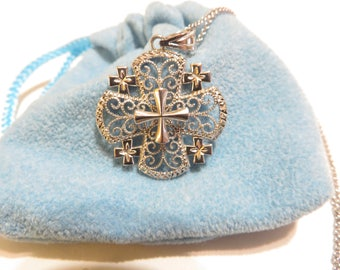 Sterling Silver Crucifix Religious Pendant Necklace Italy