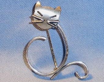Modernist Beau Sterling Silver Cat Brooch