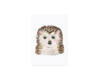Postcard watercolor Hedgehog
