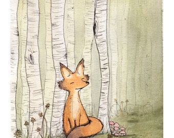 Woodland Fox Among Birch Forest Watercolor Illustration print