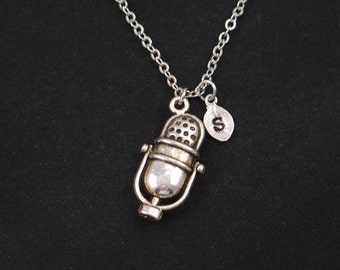 microphone necklace, sterling silver filled, initial necklace, silver microphone charm, music necklace, sing, singer jewelry, music lover
