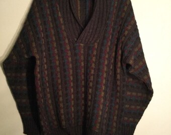 Vintage mens brown sweater Wool Acrylic L 50